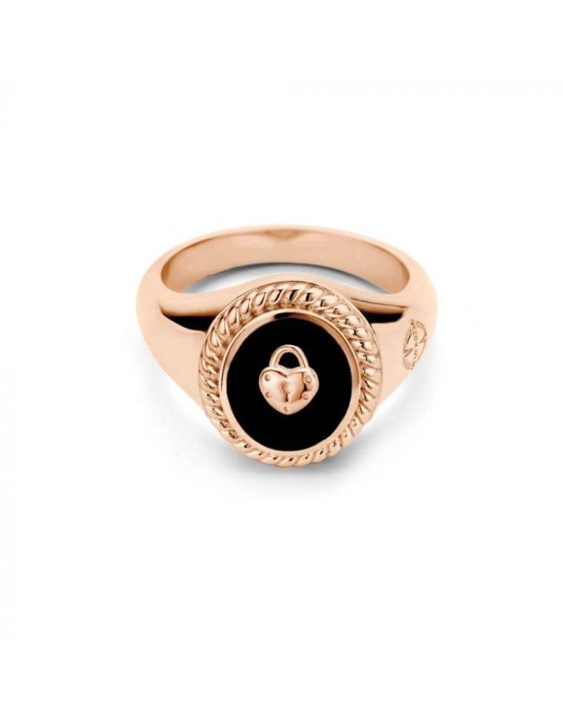 Mi Moneda Mi Moneda Icons Ring Set Keylock Zwart/Rosé