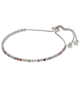 Kalli Kalli Bracelet Zilverkleurig Rainbow Steentjes