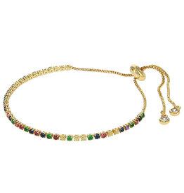 Kalli Kalli Bracelet Goudkleurig Rainbow Steentjes