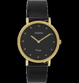 Oozoo Timepieces Oozoo Horloge Mesh Zwart-Goud C20058