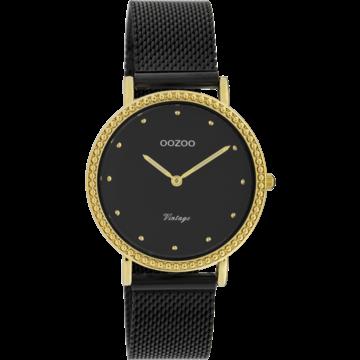 Oozoo Timepieces Oozoo Horloge Mesh Zwart-Goud