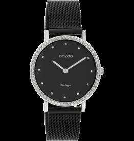 Oozoo Timepieces Oozoo Horloge Mesh Zwart-Zilver