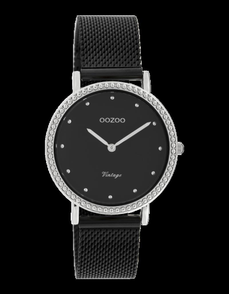 Oozoo Timepieces Oozoo Horloge Mesh Zwart-Zilver C20057