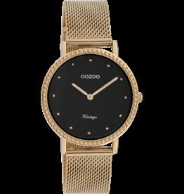 Oozoo Timepieces Oozoo Horloge Mesh Rosé-Zwart