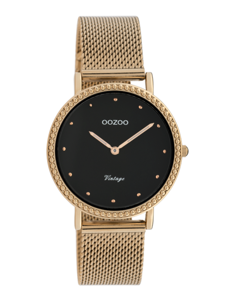 Oozoo Timepieces Oozoo Horloge Mesh Rosé-Zwart C20056