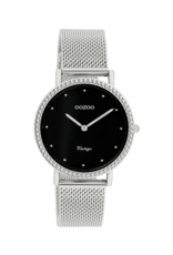 Oozoo Timepieces Oozoo Horloge Mesh Zilver-Zwart C20052