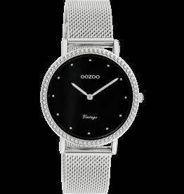 Oozoo Timepieces Oozoo Horloge Mesh Zilver-Zwart