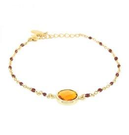 Kalli Kalli Bracelet Stone Brown Beads Goudkleurig