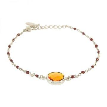 Kalli Kalli Bracelet Stone Brown Beads Zilverkleurig
