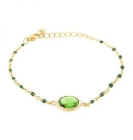 Kalli Kalli Bracelet Stone Green Beads Goudkleurig
