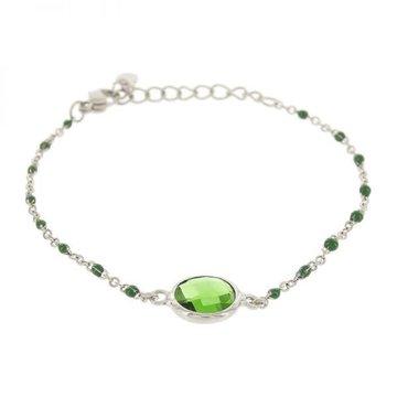 Kalli Kalli Bracelet Stone Green Beads Zilverkleurig