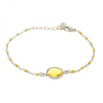 Kalli Kalli Bracelet Stone Yellow Beads Zilverkleurig