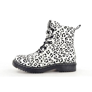 Fabs Shoes Fabs Shoes Enkellaars Panterprint Wit/Zwart
