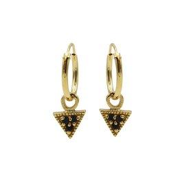 Karma Karma Hoops Symbols Triple Black Zirconia Triangle Goudkleurig