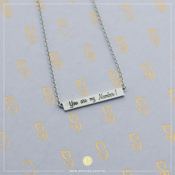 Imotionals Imotionals Plates Ketting 'You are my number 1' Zilver