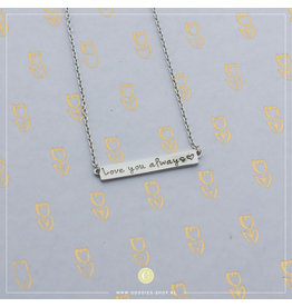 Imotionals Ibiza Plates Ketting 'Love you always' Zilver