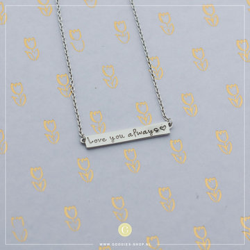 Imotionals Imotionals Plates Ketting 'Love you always' Zilver