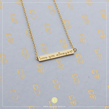 Imotionals Imotionals Plates Ketting 'Love you always' Goudkleurig