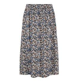 Pieces Pieces Midi Skirt Bloemen Zwart