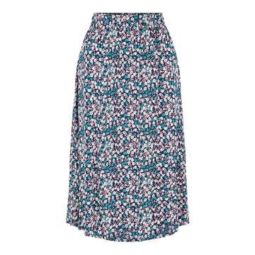 Pieces Pieces Midi Skirt Bloemen Blauw