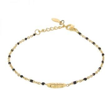Kalli Kalli Braclet Goudkleurig Feather, Black Beads