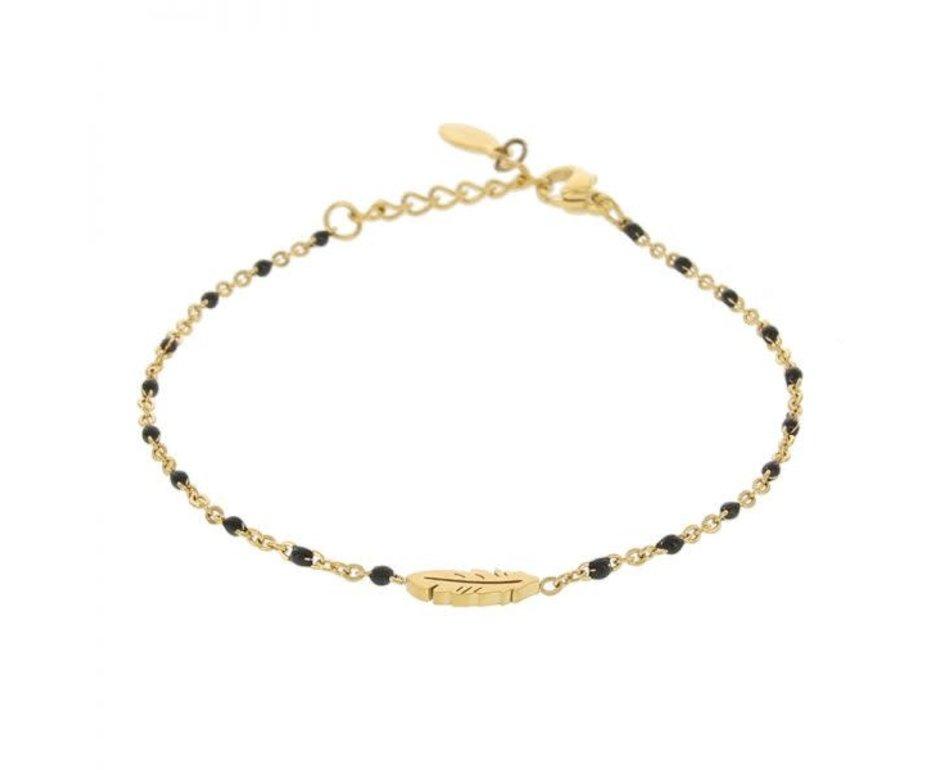 Kalli Kalli Braclet Feather 2592 Goudkleurig Black Beads