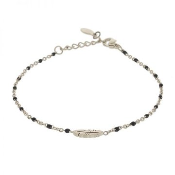 Kalli Kalli Braclet Zilverkleurig Feather, Black Beads