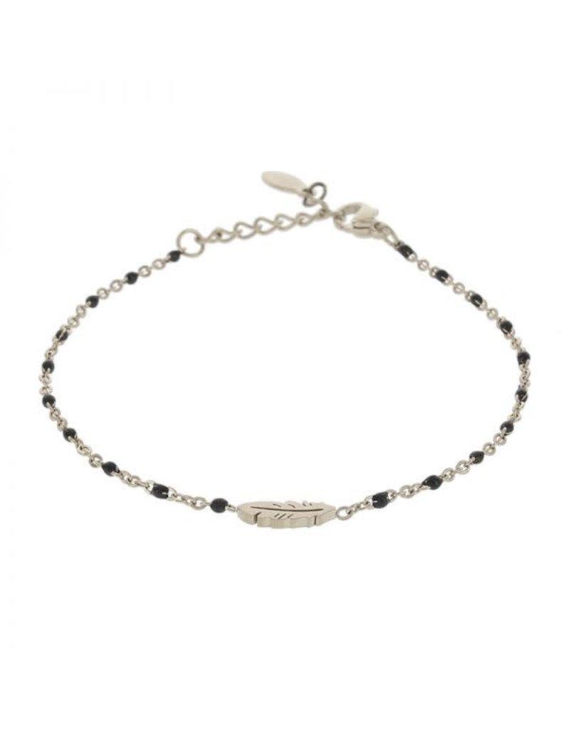 Kalli Kalli Braclet Feather 2592 Zilverkleurig Black Beads