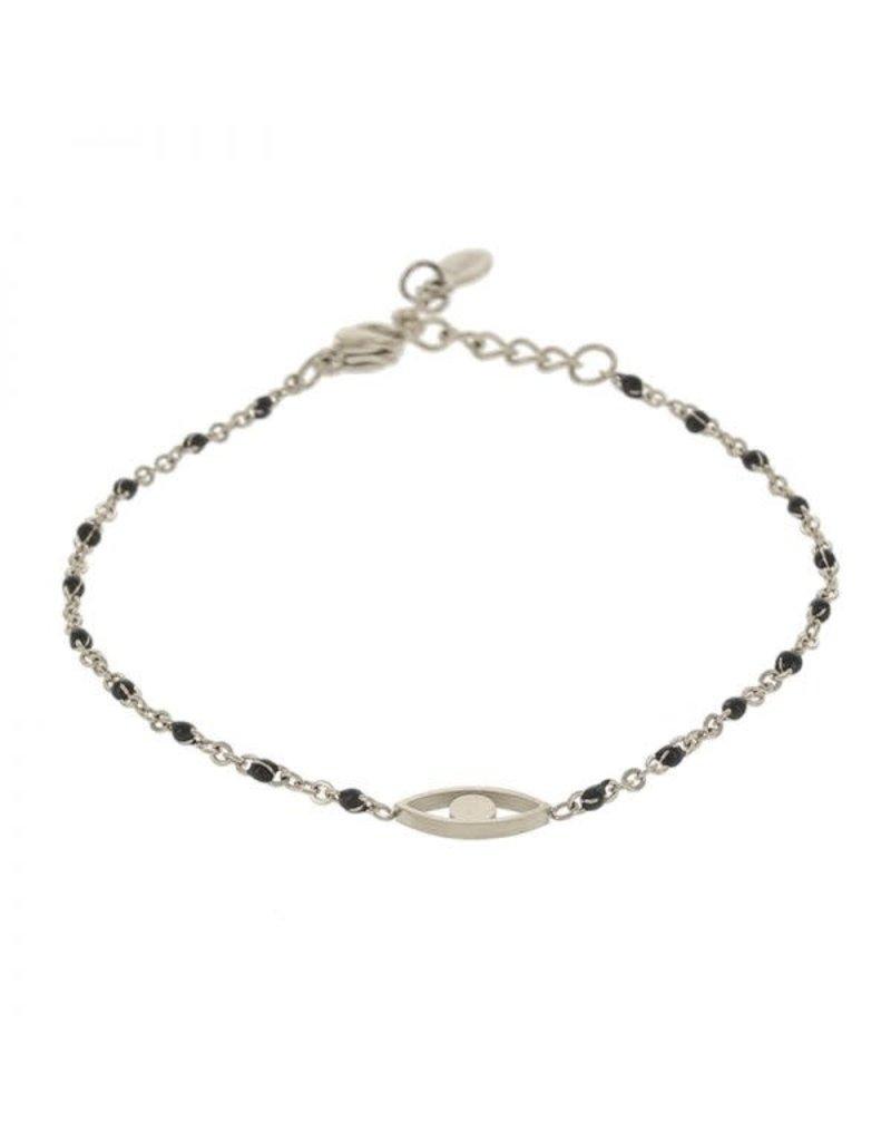 Kalli Kalli Braclet Eye 2591 Zilverkleurig Black Beads