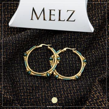 Melz Medium Oorringen Goud/Blauw