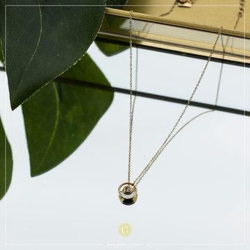 Zag Bijoux Zag Bijoux Necklace Circle Crystal Pearl Goudkleurig