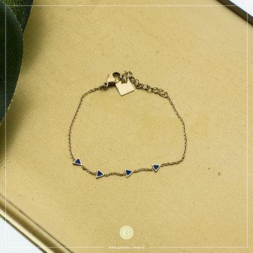 Zag Bijoux Zag Bijoux Goudkleurig Armband Blauwe Driehoeken