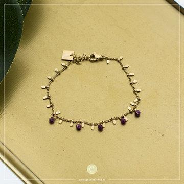 Zag Bijoux Zag Bijoux Bracelet Fuchsia Beads Goudkleurig