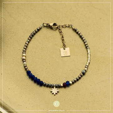 Zag Bijoux Zag Bijoux Double Bracelet Blue Star Goudkleurig