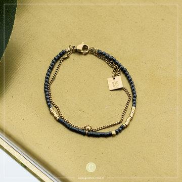 Zag Bijoux Zag Bijoux Double Bracelet Antracite Goudkleurig