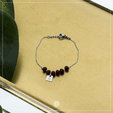 Zag Bijoux Zag Bijoux Armband Zes Rode Beads