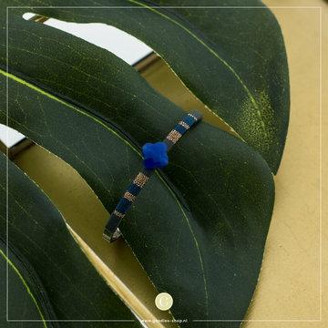 Zag Bijoux Zag Bijoux Spang Armband Blauw Klavertje Vier