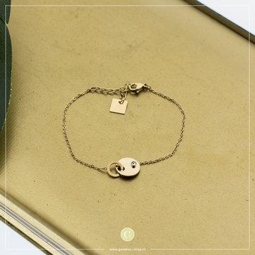 Zag Bijoux Zag Bijoux Bracelet Double Circle Stone Goudkleurig