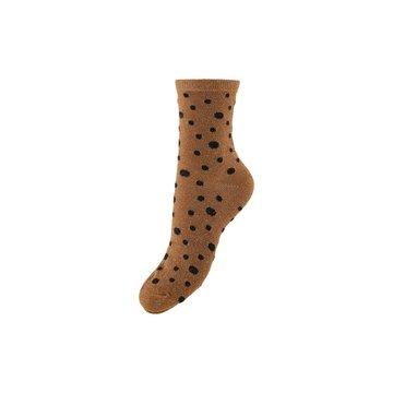 Pieces Pieces Bruine Sokken Met Zwarte Stippen