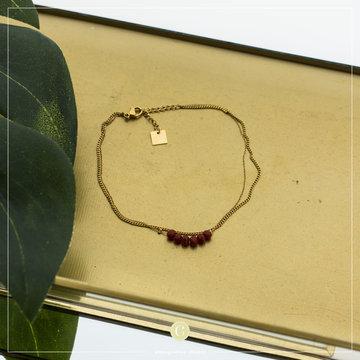 Zag Bijoux Zag Bijoux Goudkleurig Enkelband Rode Beads