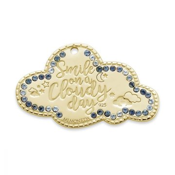Mi Moneda MMM Cloud Tag 20mm With blue Colored Swarovski Crystals Goudkleurig