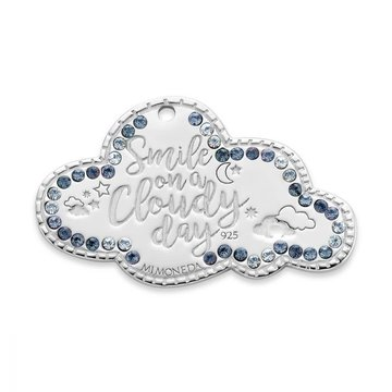 Mi Moneda MMM Cloud Tag 20mm With blue Colored Swarovski Crystals Zilver