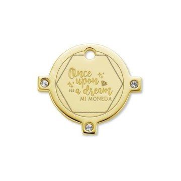 Mi Moneda MMM Dream Tag Round 15mm With Swarovski Crystals Goudkleurig