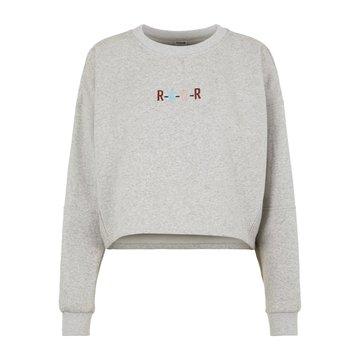 Noisy May Noisy May Crop Sweater Grijs 'Rawr'