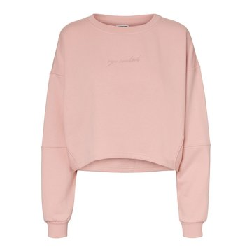 Noisy May Noisy May Crop Sweater Roze 'Eye Contact'