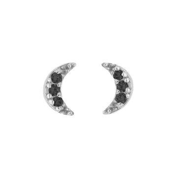 Karma Karma Zilverkleurige Oorbellen Maan 2 Zwarte Zirconia