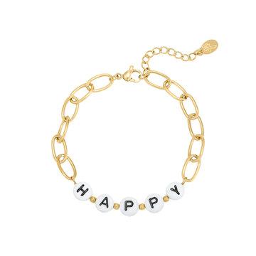 Goodies Goodies Goudkleurige Armband Beads Happy