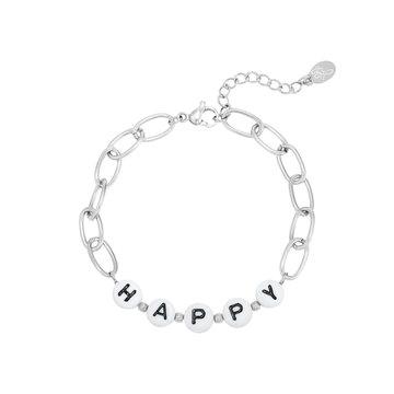 Goodies Goodies Zilverkleurige Armband Beads Happy