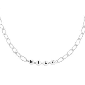 Goodies Goodies Zilverkleurige Ketting Beads Wild