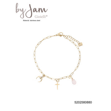 By Jam Gioielli By Jam Goudkleurige Armband Maan & Kruis